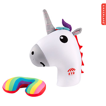 K-TP3939 - Kikkerland Zip & Flip Travel Pillow-Unicorn
